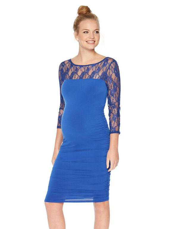 Lace Sleeve Ruched Maternity Dress- Blue, Blue