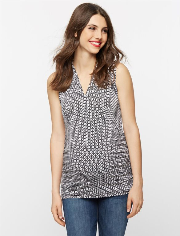 Ruched Maternity Tank Top, Black/White Print