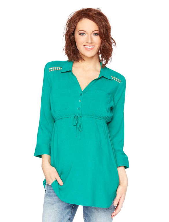 Ladder Trim Maternity Tunic, Green