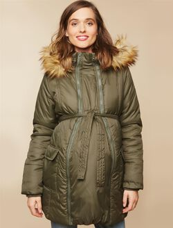 Modern Eternity 3 In 1 Belted Maternity Puffer Coat, Olive