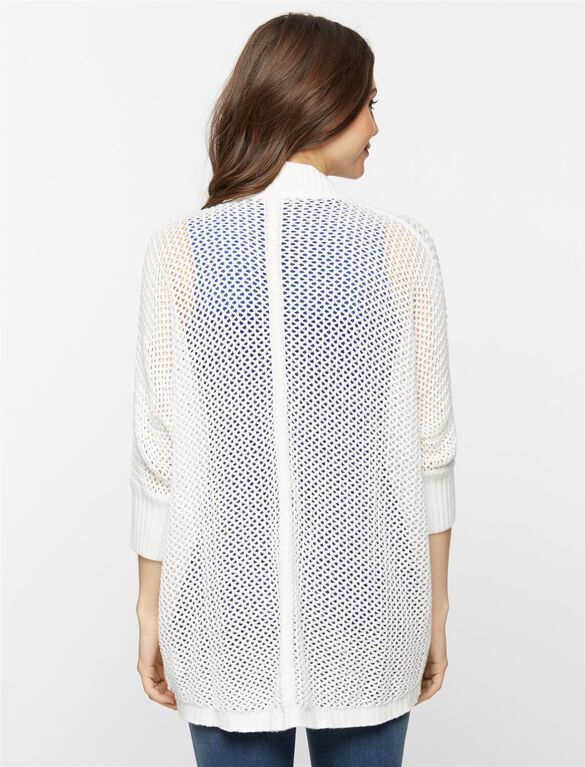 Drop Shoulder Cocoon Maternity Cardigan, White