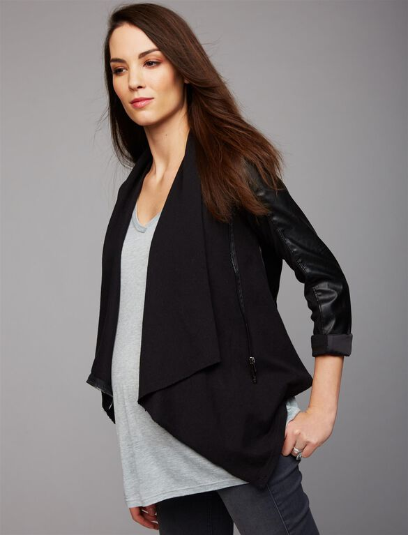 Blank NYC Zip Front Faux Leather Maternity Jacket, Black