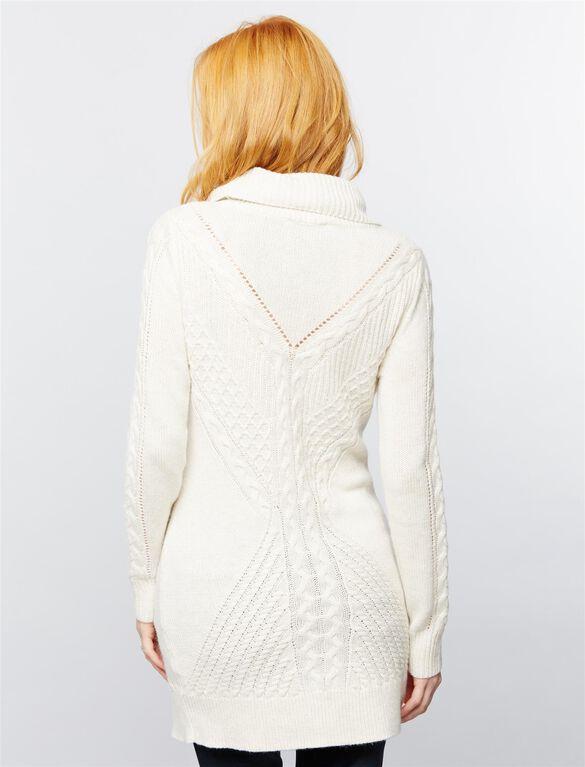 Stitch Detail Maternity Sweater, White