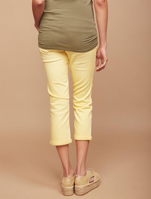 Secret Fit Belly Twill Skinny Leg Maternity Crop Pants, Golden Haze