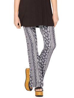 Secret Fit Belly Super Flare Maternity Pants, Black/White Print