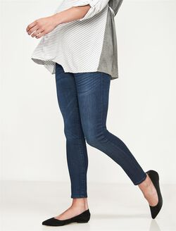 Luxe Essentials Denim Secret Fit Belly Ankle Skinny Maternity Jeans, Dark Wash