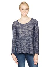 Long Sleeve Lift Up Knit Nursing Top, Blue