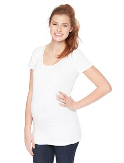 Side Ruched Maternity Tee, White