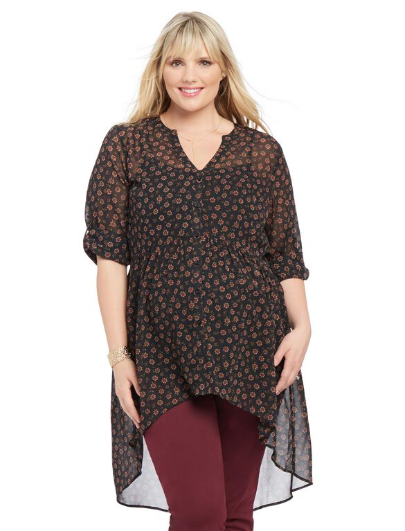 Plus Size Convertible Sleeve Maternity Blouse, Black Ditsy Floral Print