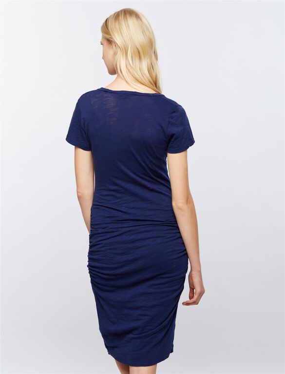Monrow Side Ruched Maternity Dress, Navy