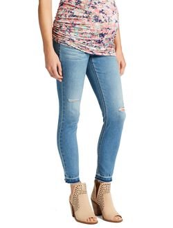 Jessica Simpson Secret Fit Belly Skinny Leg Maternity Crop Jeans, Medium Wash