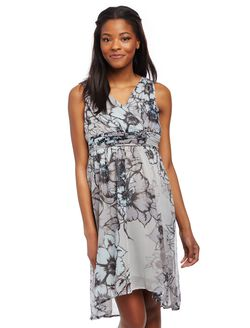 Sleeveless High-low Maternity Dress- Grey Floral, Grey Floral