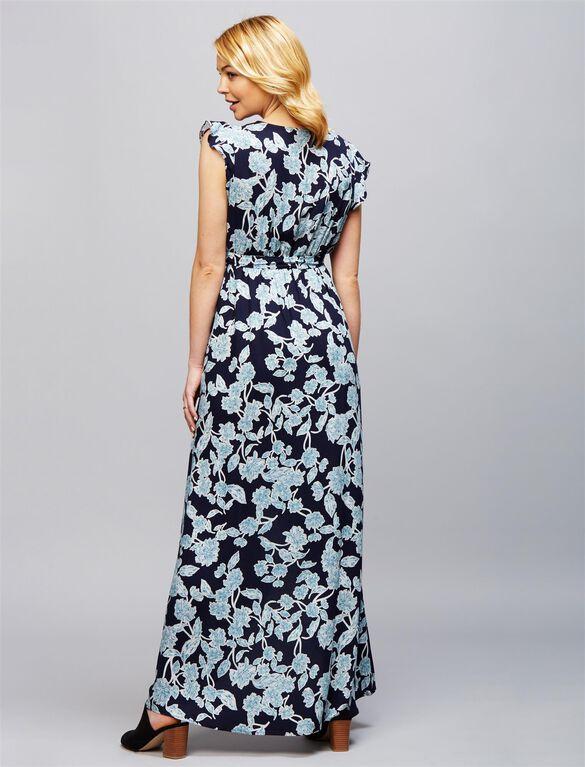 Splendid High-low Hem Maternity Dress, Floral Blue