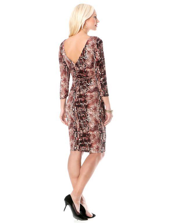 Back Interest Maternity Dress, Rose Snake Print