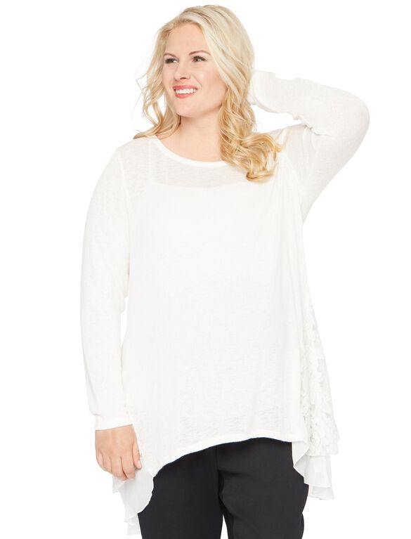 Plus Size Babydoll Maternity Top, Cream