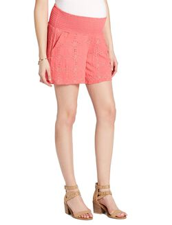 Jessica Simpson Under Belly Eyelet Maternity Shorts, Coral