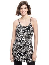 Belted Maternity Tank Top- Black Print, Black Print