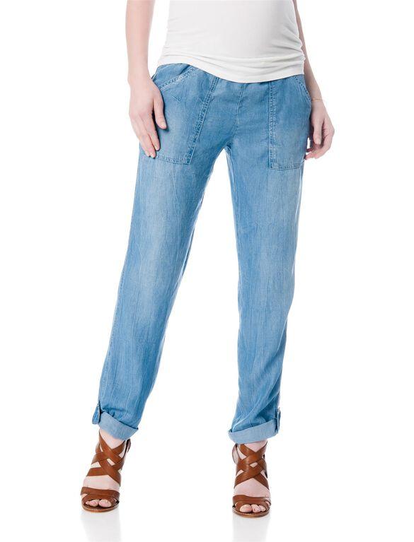 Splendid Pull On Style Cotton Woven Skinny Leg Maternity Pants, Denim