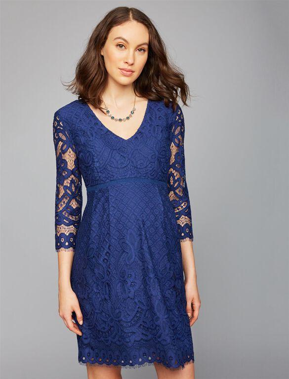 V-Neck Lace Maternity Dress, Blue