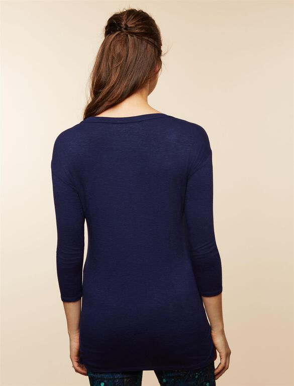 Lace Detail Maternity Top, Navy