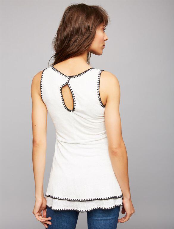 Embroidered Trim Peplum Maternity Tank Top, White W/ Black