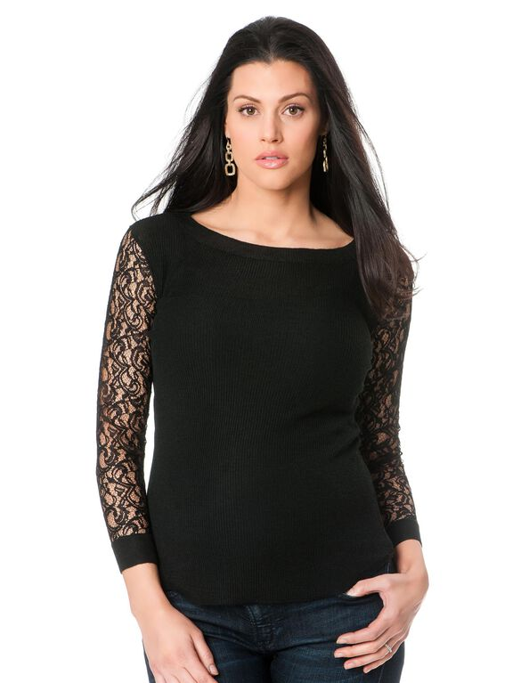 Lace Trim Maternity Sweater, Black