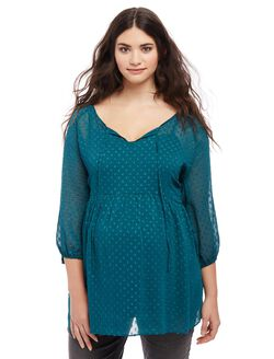 Plus Size Dot Maternity Peasant Blouse, Deep Teal