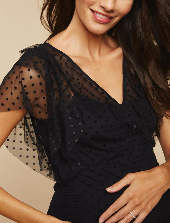 Sheer Dot Ruffled Maternity Top, Black