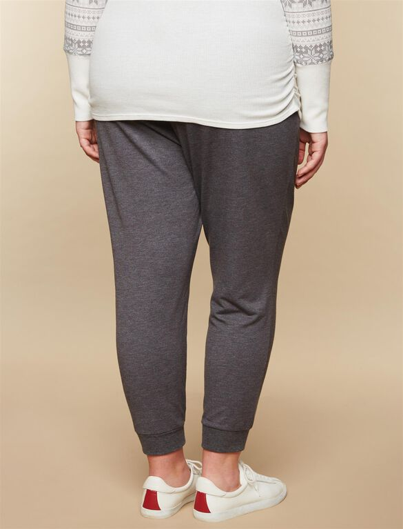 Web Only Plus Size Under Belly French Terry Jogger Maternity Active Pants, Grey