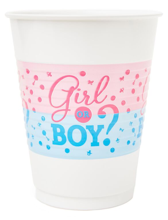 Girl or Boy Gender Reveal Plastic Party Cups, Pink/Blue
