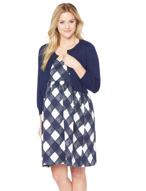 Cropped Maternity Cardigan, Peacoat