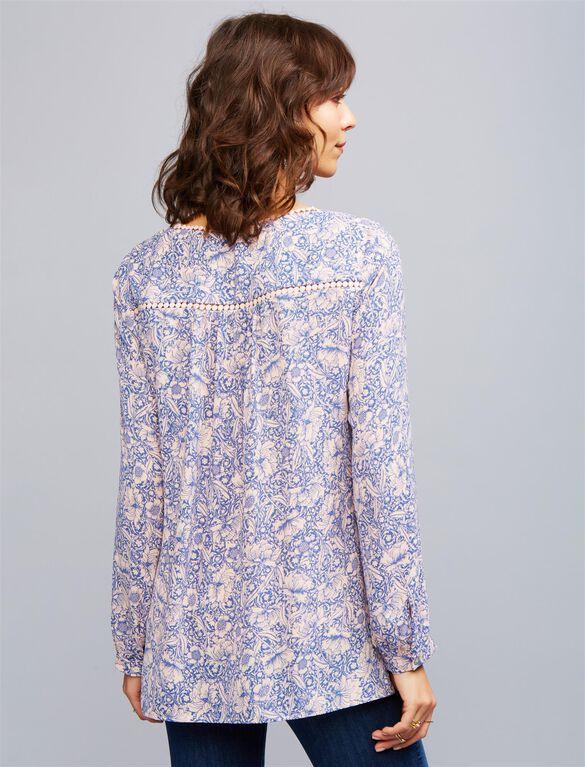 Daniel Rainn Decorative Trim Maternity Blouse, Navy/Blush Floral
