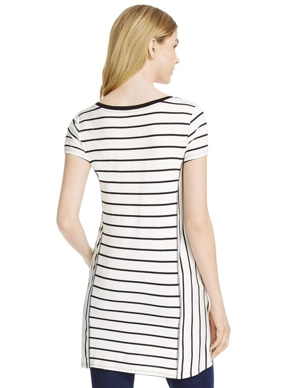 Jessica Simpson Trapeze Maternity T Shirt, Black/White