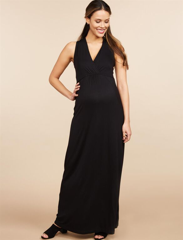 Surplice Neckline Maternity Maxi Dress- Black, Black