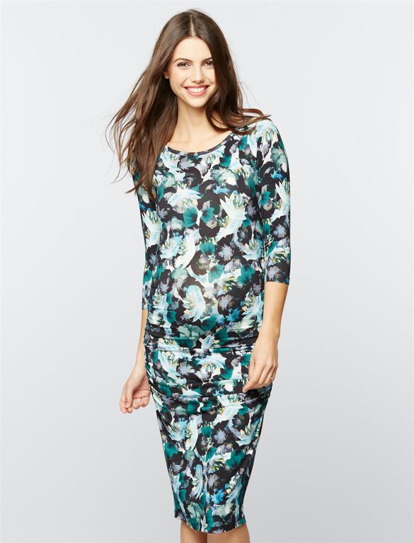 Isabella Oliver Side Ruched Maternity Shirt Dress, Green Floral Print
