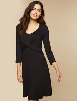 Lift Up Twist Front Nursing Dress, Black