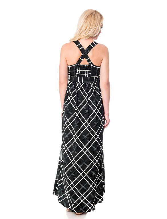 Jessica Simpson Deep V Empire Waist Maternity Maxi Dress, Black/White Plaid