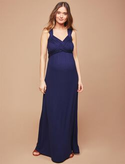 Cross Back Maternity Maxi Dress, NAVY