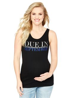 Due in September Maternity Graphic Tank Top, Sapphire Glitter