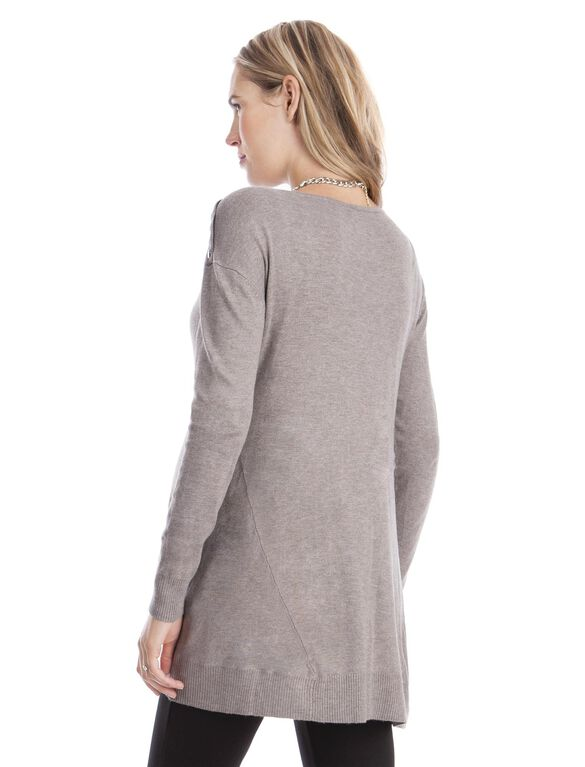 Long Sleeve Button Detail Maternity Sweater- Chestnut, Chestnut