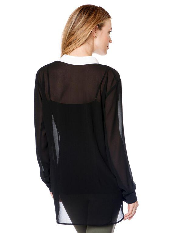 Colorblock Maternity Blouse, Black