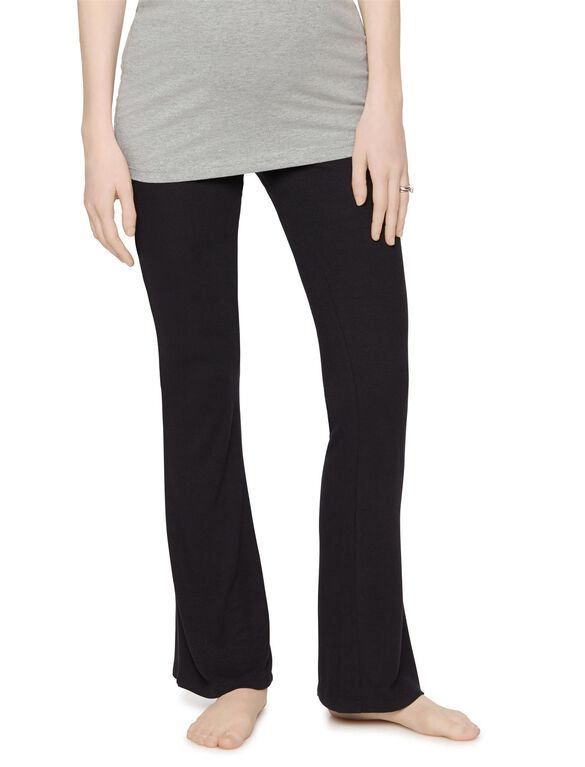 No Belly Rib Knit Fit And Flare Maternity Pants, Black