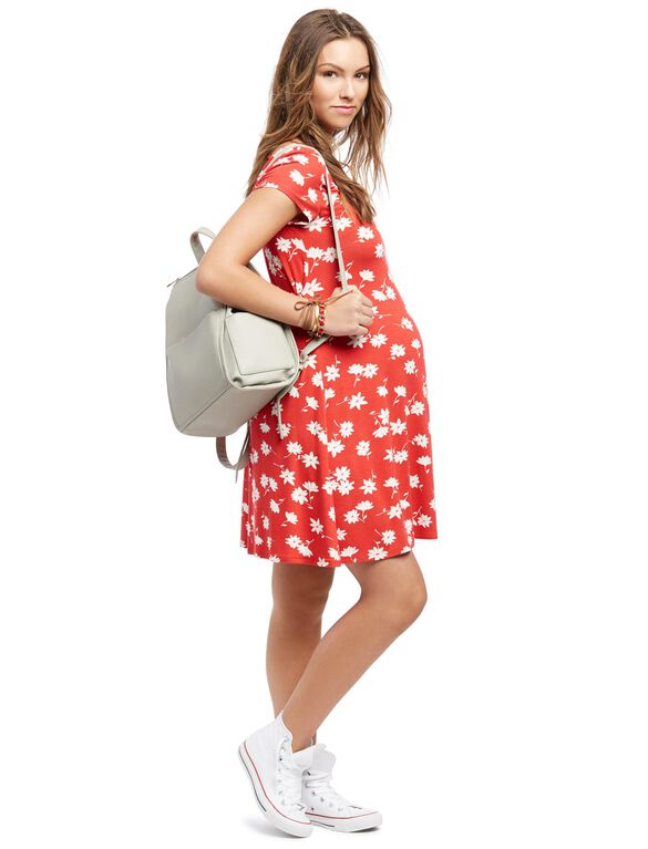 Printed Fit And Flare Maternity Dress, Red And White