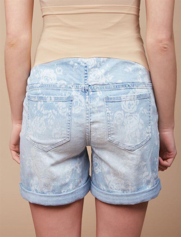 Secret Fit Belly Floral Roll Hem Denim Maternity Shorts, Floral Light Wash