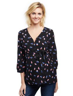 Button Detail Maternity Blouse- Black Bird Print, Black Bird Print