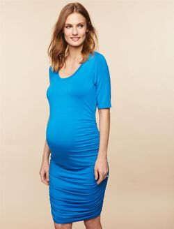Side Ruched Maternity Dress, Blue