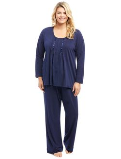 Plus Size Drawstring Maternity 2 Piece Set, Navy