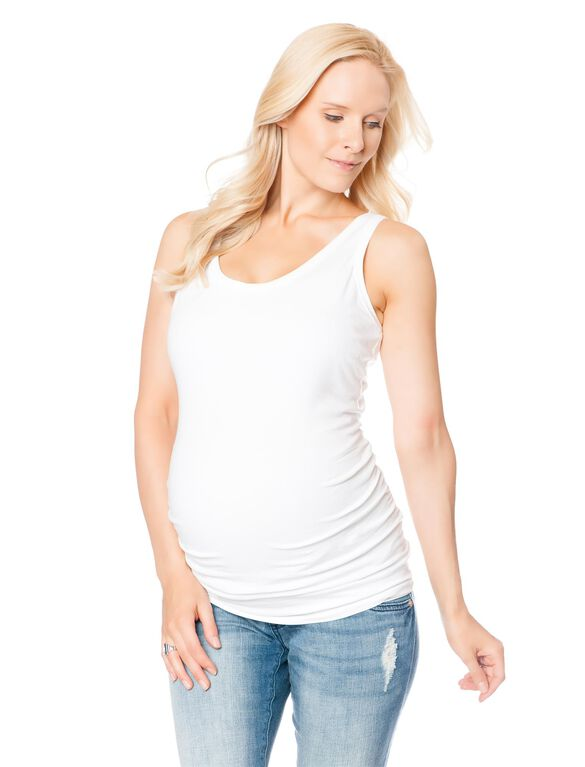 Side Ruched Maternity Tank Top, White