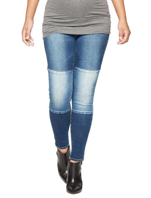 Luxe Essentials Denim Secret Fit Belly Kelly Patchwork Ankle Skinny Maternity Jean, Dark Wash