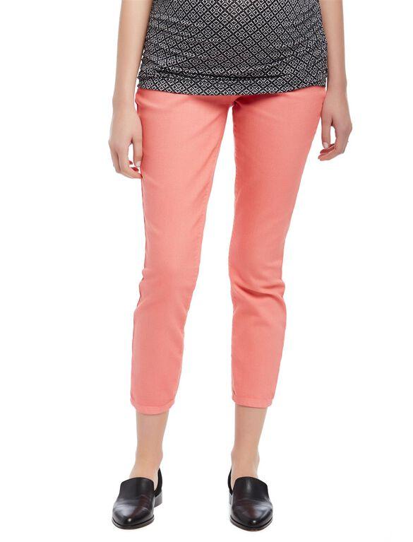 Secret Fit Belly Twill Skinny Leg Maternity Crop Pants, Coral Fizz